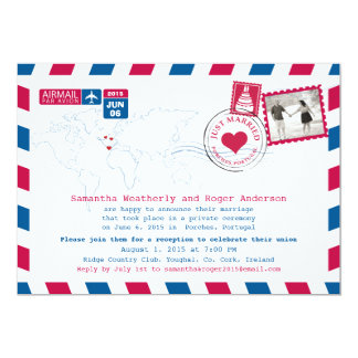 Just Married   Portugal Airmail Post Reception 13 Cm X 18 Cm Invitation Card