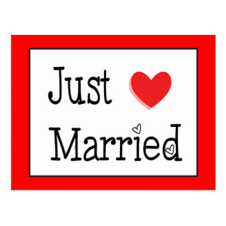 Just Married Red Heart Wedding Announcement Postcard