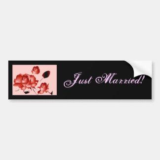 """""""Just Married"""" Red Rose Bumper Sticker Car Bumper Sticker"""
