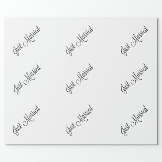 Just Married Script Wrapping Paper