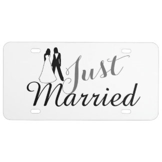 Just Married Two Brides Wedding License Plate