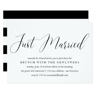 Just Married typography post wedding brunch Card
