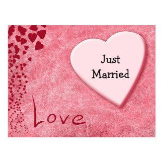 Just Married Wedding Announcement Love Postcard