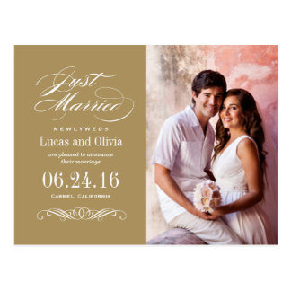Just Married Wedding Announcements | Antique Gold Postcard