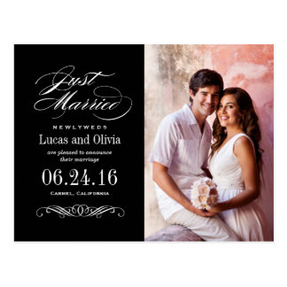 Just Married Wedding Announcements | Black Postcard