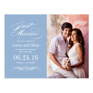 Just Married Wedding Announcements | Gray Blue Postcard