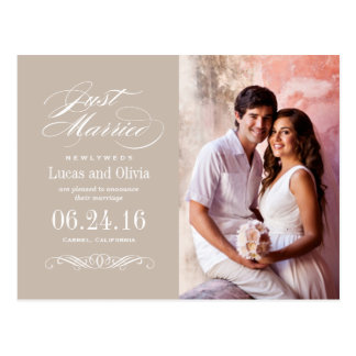 Just Married Wedding Announcements | Neutral Taupe Postcard