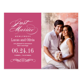 Just Married Wedding Announcements | Raspberry Red Postcard