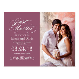 Just Married Wedding Announcements | Wine Red Postcard