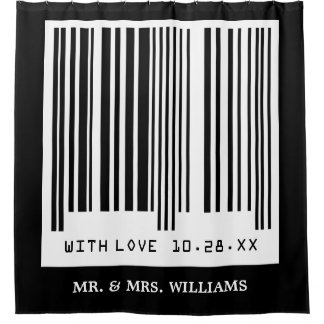 Just Married Wedding Date Funny Creative Barcode Shower Curtain