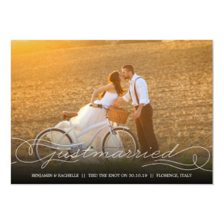 Just Married White Wedding Announcement Photo Card