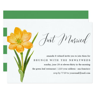 Just Married Yellow daffodil  post wedding brunch Card