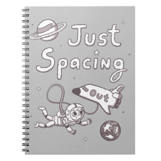Just Spacing Out Pun Humor Doodle Notebook