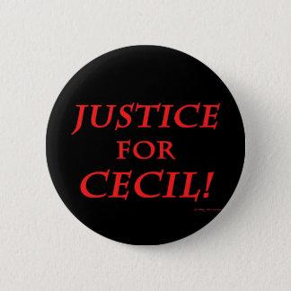 """""""Justice For Cecil!"""" Black Button"""