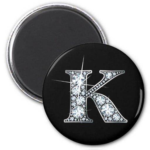 """""""K"""" Faux-""""Diamond Bling"""" Magnet Magnets"""