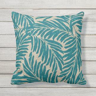 Kahanu Palms Hawaiian Linen Texture Outdoor Cushion