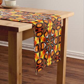 Kaleidoscope Black Gold Orange White Yellow Short Table Runner