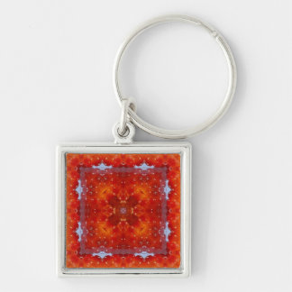 Kaleidoscope Design B1 Silver-Colored Square Key Ring