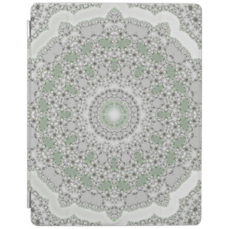 Kaleidoscope Fractal Mandala - grey green iPad Cover