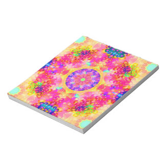 kaleidoscope fractal pink yellow notepad