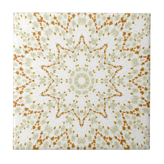 Kaleidoscope of golden flowers small square tile