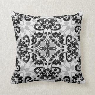 Kaleidoscopic damask pattern in black and gray cushion