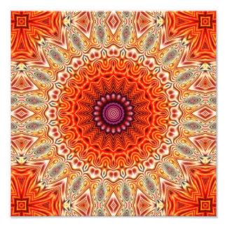 Kaleidoscopic Flower Orange And White Design Photo Print