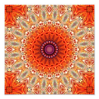 Kaleidoscopic Flower Orange And White Design Photograph