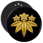Kamakura Minamoto Mon Japanese clan gold on black Pinback Button