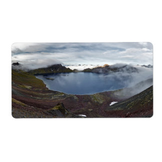 Kamchatka panoramic view of crater lake of volcano shipping label