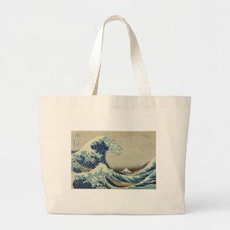 Kanagawa Wave by Katsushika Hokusai Large Tote Bag