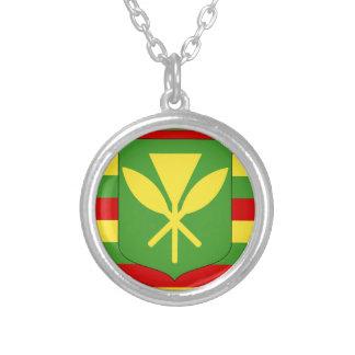 Kanaka Maoli Flag - Hawaiian Independence Flag Silver Plated Necklace