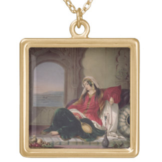 Kandahar Lady of Rank, Engaged in Smoking, plate 2 Gold Plated Necklace