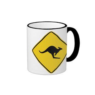 Kangaroo XING Sign Coffee Mugs