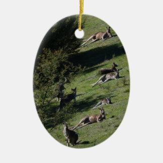 kangaroos ceramic oval decoration