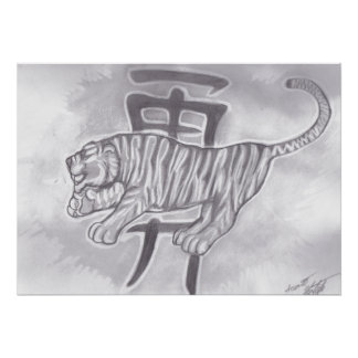 kanji for courage with a tiger poster