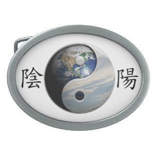 Kanji with Earth & Sky Yin Yang Belt Buckle
