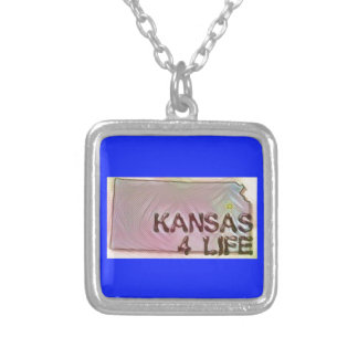 """""""Kansas 4 Life"""" State Map Pride Design Silver Plated Necklace"""