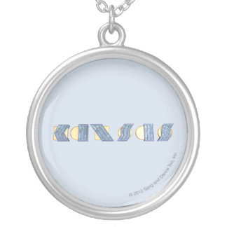 KANSAS (Blue and Gold) Silver Plated Necklace