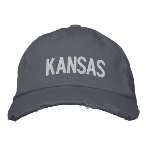 KANSAS Distressed Chino Twill Cap Embroidered Baseball Cap