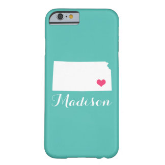Kansas Heart Aqua Custom Monogram Barely There iPhone 6 Case
