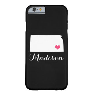 Kansas Heart Black Custom Monogram Barely There iPhone 6 Case