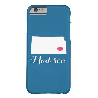 Kansas Heart Blue Custom Monogram Barely There iPhone 6 Case