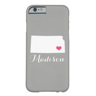 Kansas Heart Gray Custom Monogram Barely There iPhone 6 Case