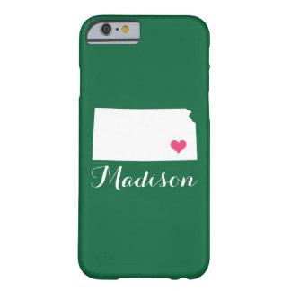 Kansas Heart Green Custom Monogram Barely There iPhone 6 Case