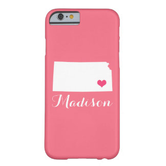 Kansas Heart Pink Custom Monogram Barely There iPhone 6 Case