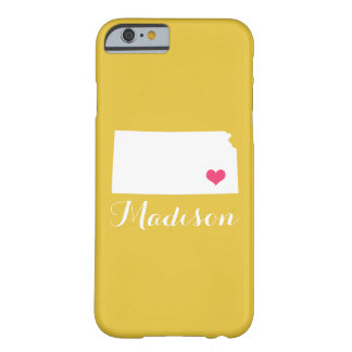 Kansas Heart Yellow Custom Monogram Barely There iPhone 6 Case