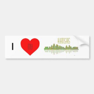 Kansas skyline bumper sticker