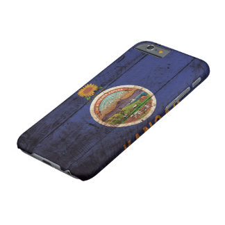 Kansas State Flag on Old Wood Grain Barely There iPhone 6 Case