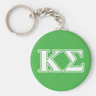 Kappa Sigma White and Green Letters Key Ring